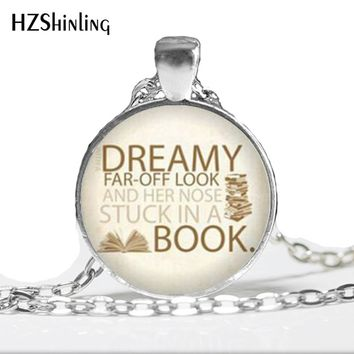 Beauty and the Beast Necklace Nose stuck in a book Belle and the Beast reader Jewelry Glass Dome Pendant Necklace A-066 HZ1