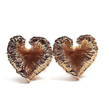 Napier Vintage Clip on Earrings Textured Gold Tone Heart Leaf Retro 1980s 80s Metal Jewelry