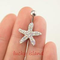belly ring,starfish belly button jewelry,glitter starfish belly button rings,navel ring,piercing belly ring,nautical piercing bellyring