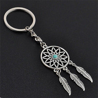 New Metal Key Chain Ring Feather Tassels Dream Catcher Keyring Keychain