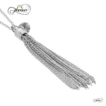 Small Tassel Necklace, 925 Sterling Silver, Silver Plated Tassel Pendant