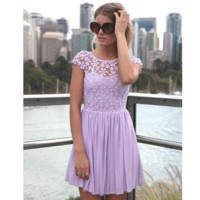 Sexy  Women's Sleeveless Backless Flower Design Lace Hollow Out mini Dress Sale