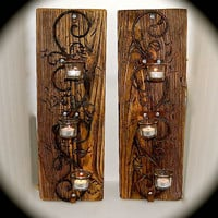 "Handmade Reclaimed Wood Sconce Pair - 3 Tiered Tea Light Iron Swirl Wall Sconces. Chunky Reclaimed Barnwood- 2 Foot Tall 8"" across 5.5"" Deep"