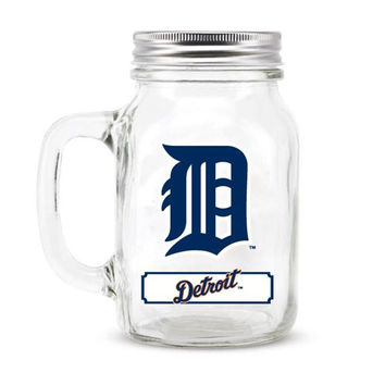 Detroit Tigers MLB Mason Jar Glass With Lid