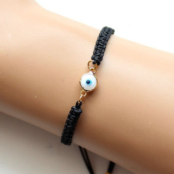 Evil eye bracelet, black evil eye, adjustable bracelet, white turquoise, macrame bracelet, turkish jewelry, best friend birthday gift