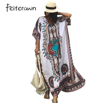Feiterawn Women Summer African Ethnic Print Kaftan Maxi Dress 8 color 2018 Summer Loose Vintage Boho Beach Long Dress MX352
