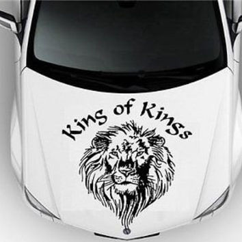 Hood Auto Car Vinyl Decal Stickers Animals King LEO Lion Tribal Tattoo 7119