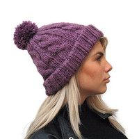 Hand Knit Beanie in Purple, Womens Pom Pom Hat, Cable Knit Beanie, winter fashion, Rolled brim hat