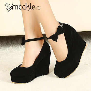 2016 HOT Sexy Women Fashion Buckle Ladies Shoes Wedges High Heels Platform black bow Pumps tenis feminino sapato feminino j3415