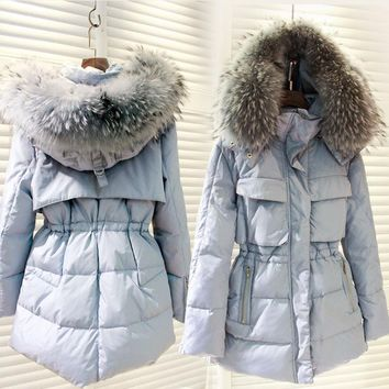 Down Jacket Girls Women Long Slim Big Faux Fur Collar Winter Warm Hooded Outwear Female 90% Duck Down Coat