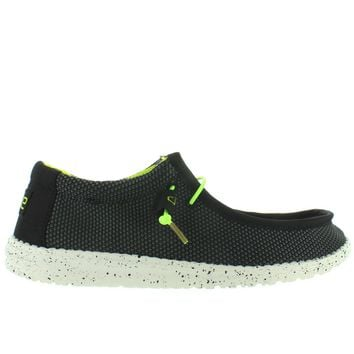 Hey Dude Wally L Sox Funk - Black/Lemon Textile Athleisure Wallabee