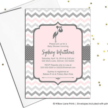 Gray and pink baby shower invitation girls - printable baby shower invite - stork baby shower invitations - digital invite - WLP00857