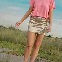 CORAL peach HEART cut out TOP tee tshirt with Gold edge trim - By designer Justyna G
