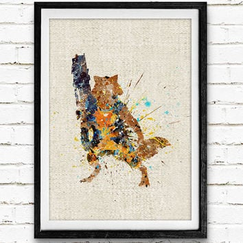 Rocket Raccoon Poster, Guardians of the Galaxy Watercolor Art Print, Kids Room Wall Art, Home Decor, Gift, Not Framed, Buy 2 Get 1 Free!