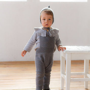 Boy clothes Knit overall Baby long romper Knitted Jumpsuit Baby suit Gray Long pants
