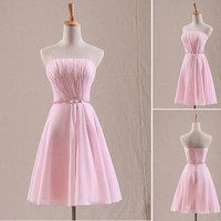 Sweet Pink Strapless Chiffon Simple Bridesmaid Dre by lindayang1122 on deviantART