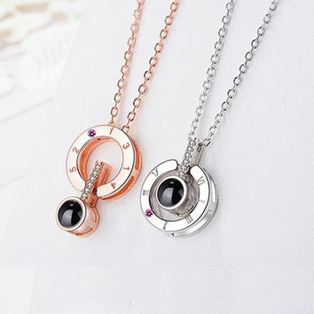 New Rose Gold Silver Love Memory Wedding Necklace 100 languages I love you Projection Pendant Necklace Drop Shipping