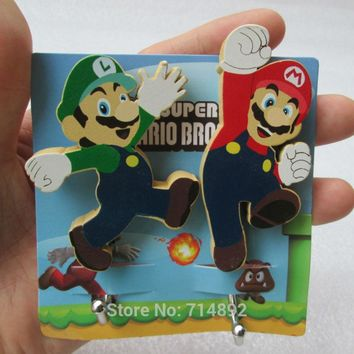 Super Mario party nes switch 4 pcs/lot  bros wall stickers  Luigi figures cute strong stick hooks to wall   AT_80_8