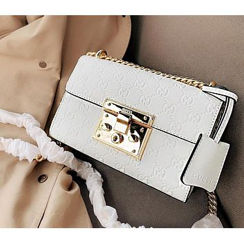 Gucci Padlock Fashionable Women Simple Leather Metal Chain Shoulder Bag Crossbody Satchel White