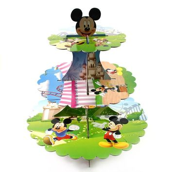 Mickey Mouse 3-tier Cake Stand Cupcake Holder Kids Birthday Party Supplies Baby Shower Favors Decoration Cupcake Stand
