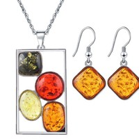 ONETOW Insect Amber Jewelery Set Animal Color Bees Necklace Stud Earrings Set