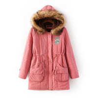 Peach Pink Pocket Elastic Waist Parka Coat
