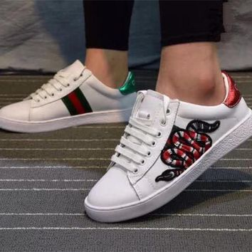 """""""Gucci"""" Unisex Casual Fashion Multicolor Stripe Embroidery Snake Small White Shoes Couple Plate Shoes Sneakers"""