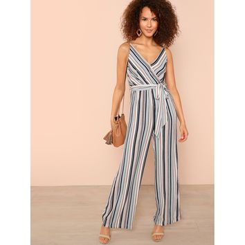 Self Belted Surplice Neck Wide Leg Cami Jumpsuit Online Exclusive