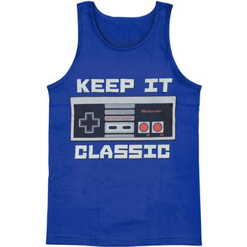 Nintendo Men's  Keep It Classic Mens Tank Royal Rockabilia