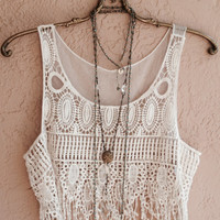 Bohemian crochet crop top with fringe beach coverup  reserved for Mandy