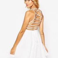 ASOS Skater Dress With Lace Up Back
