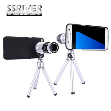 For Samsung Galaxy S7 Edge 12X Optical Zoom Telescope Camera Lens+Tripod +Back Case Cover Phone 12X Zoom Lens