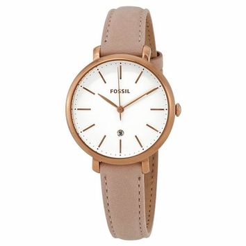 Fossil Womens ES4369 Gold Case with Pink Leather Band Watch