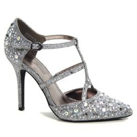 Rhinestone Jewel Studded D'Orsay Dress Pump For Evening Clubbing Dancing