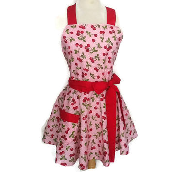 Classic Flirty Aprons with full circle skirt Red and Pink Cherries - with Red Ties women's cute sexy retro personalized name