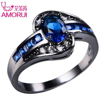 AMORUI Vintage Gold Black Color Royal Blue Green CZ Wedding Rings for Women/Men Jewelry Birthstone Engagement Ring Bijoux Gift