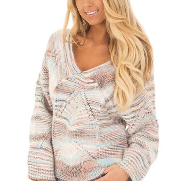 Multi Colored Cable Knit Crop Top Sweater