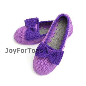 Crocheted house slippers Crochet Slippers Custom Order Lila Violet Slippers for the home Woman