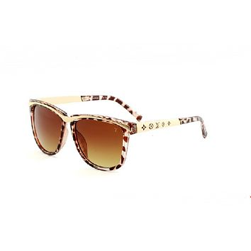 Chic LV  Summer Sun Shades Eyeglasses Glasses Sunglasses- White Leopard