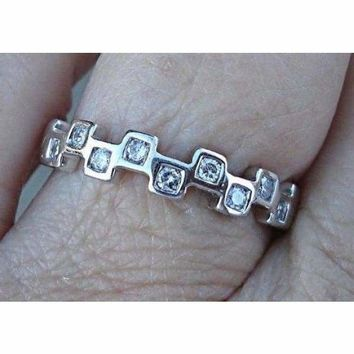 Luxinelle Diamond in Squares White Gold Band, Stacking Ring 14K White Gold by Luxinelle®Jewelry