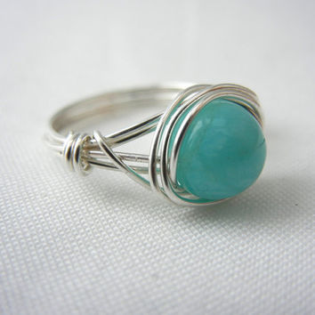 Peruvian Amazonite Argentium Sterling Silver Wire Wrapped Ring