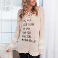 Cozy Night In Oversized Graphic Top (Beige)