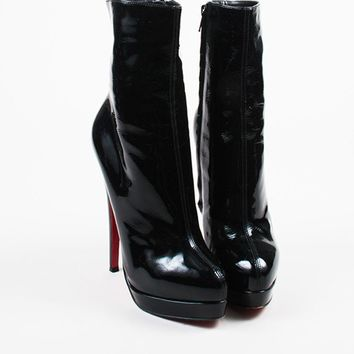 CREYU2C Christian Louboutin Black Patent Leather Almond Toe Mid Calf Stiletto Boots