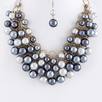 Lucy Pearl Cluster Bib Necklace