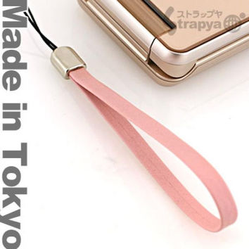 Tokyo Style Genuine Leather Cell Phone Strap (Pink)