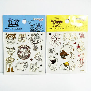 Disney Stickers Kawaii Toy Story and Winnie the Pooh Transparent Reflective Deco Sticker Gift Card Seal Scrapbook Album Decals