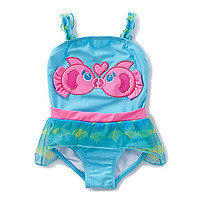Baby Starters 12-24 Months Kissing Fish One Piece Swim Suit - Blue