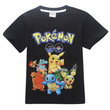 2017 Summer Boys T Shirts Pokemons Go Anime Kids T Shirts Cartoon Cotton Pikachu Tees Boys Girls Tops Tees Kids Costume