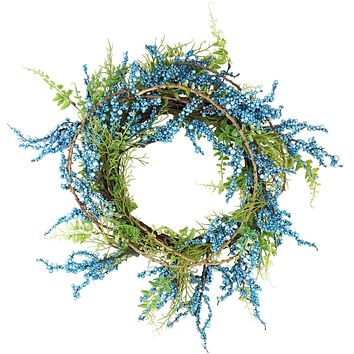 "12"" Blue Green and Brown Decorative Berry Artificial Spring Twig Wreath - Unlit"