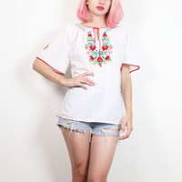 Vintage Hippie Tunic White Red Pink Green Floral Embroidered Peasant Top Bohemian Cotton Bell Angel Flutter Sleeve Shirt Blouse M Medium L